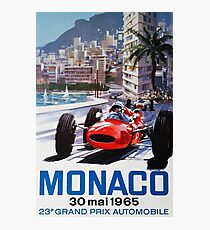 Gran Prix de Monaco 1965, vintage poster, car poster, black bg Photographic Print