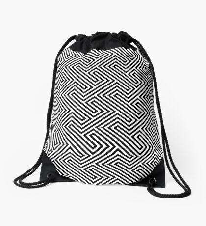 Monochrome Repeating Pattern 001 Drawstring Bag
