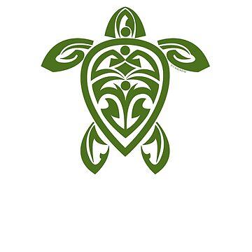 Green Tribal Turtle Tattoo by srwdesign