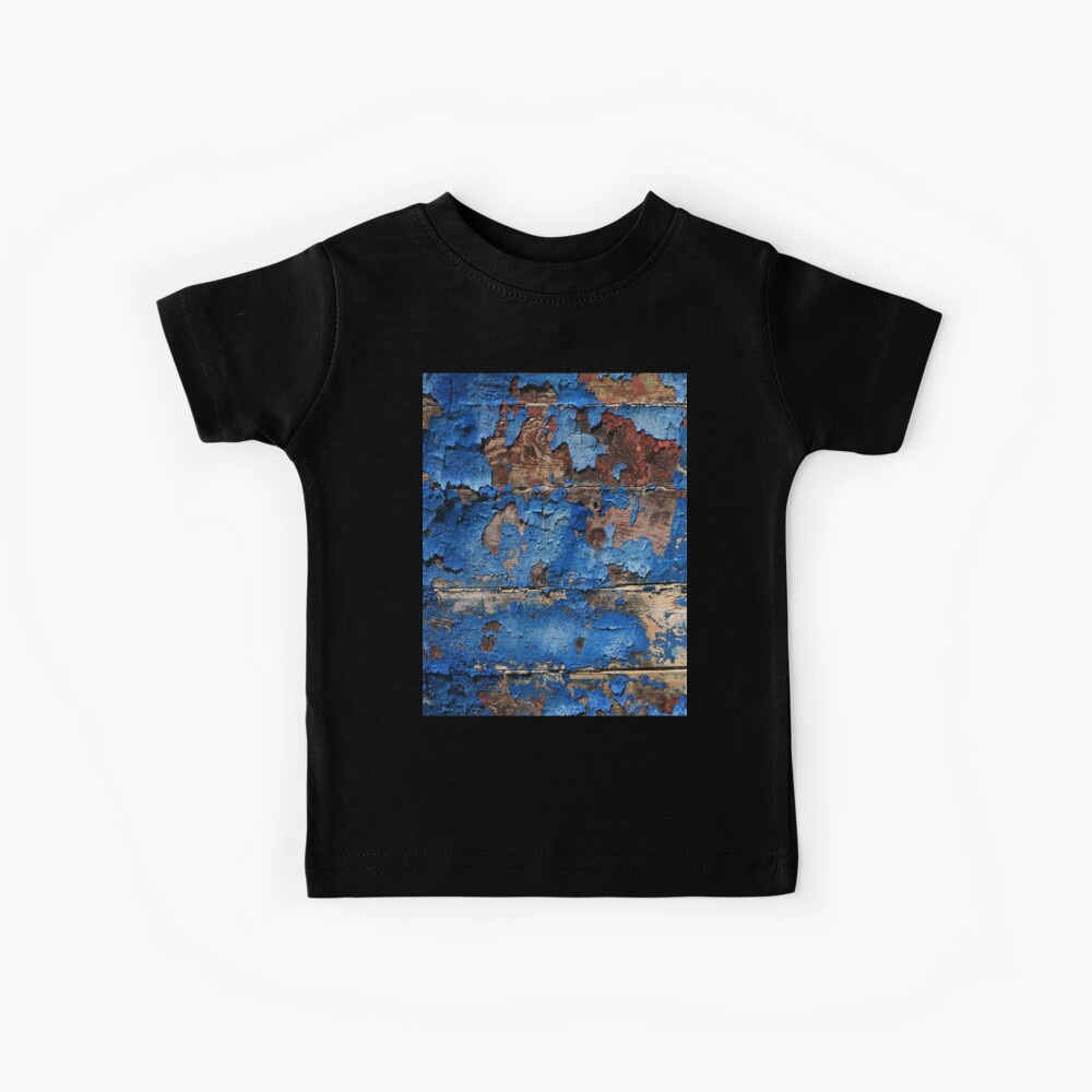 Blaues rustikales Scheunenholz des beunruhigten westlichen Landaqua Kinder T-Shirt