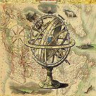 steampunk geography globe antique vintage world map  by lfang77