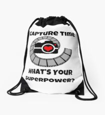 I Capture Time What's Your Super Power Camera and Film Design Drawstring Bag