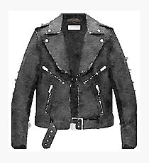 Tough Black Leather Jacket Watercolor - Hipster/Trendy/Fashion Photographic Print