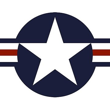 AIR FORCE, AMERICAN, USAF, Roundel, United States Air Force, aircraft, United States Navy, United States Marine Corps, on White by TOMSREDBUBBLE