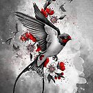 swallows and sakuras by marineloup-art
