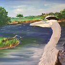 Blue Heron on Lake by TamiParrington