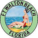 Fort Walton Beach Florida Vintage Style Travel Beach Ocean Vacation Bikini by MyHandmadeSigns