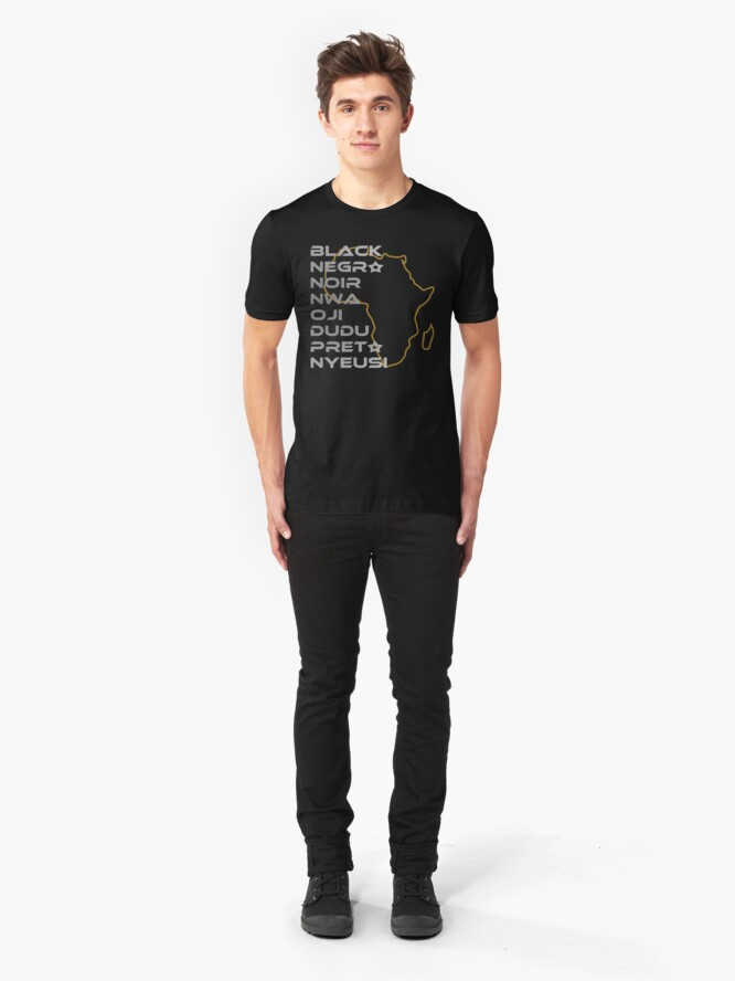 Alternate view of BLACK in Every Language Third Culture Series (Africa) Slim Fit T-Shirt
