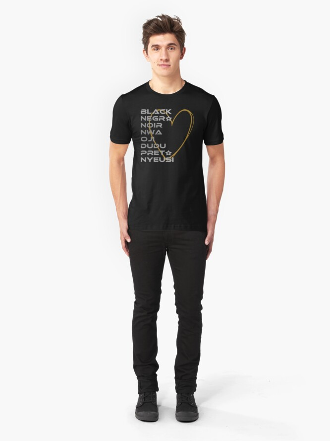 Alternate view of BLACK in Every Language Third Culture Series (Heart) Slim Fit T-Shirt