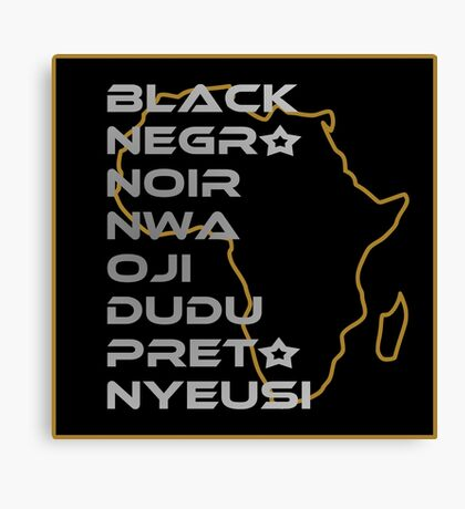 BLACK in Every Language Canvas Print