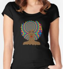 Psychedelic Afro Women's Fitted Scoop T-Shirt
