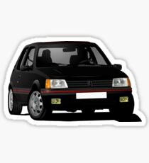 Black Peugeot 205 GTi, cornering illustration Sticker