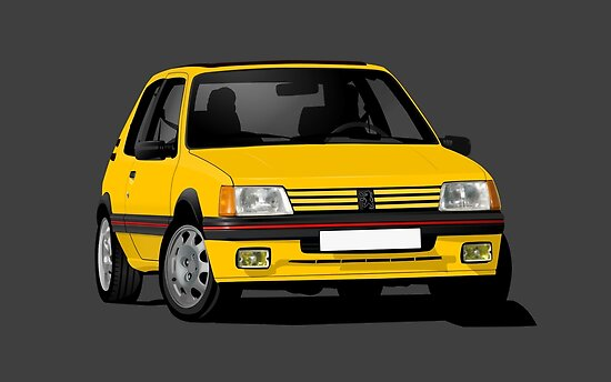 Yellow Peugeot 205 Gti Cornering Illustration Posters By