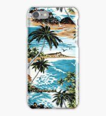 Diamond Head Scenic Hawaiian Aloha Shirt Print - Vintage Colorway iPhone Case/Skin