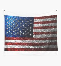 American Flag in Glitter Graphic Wall Tapestry