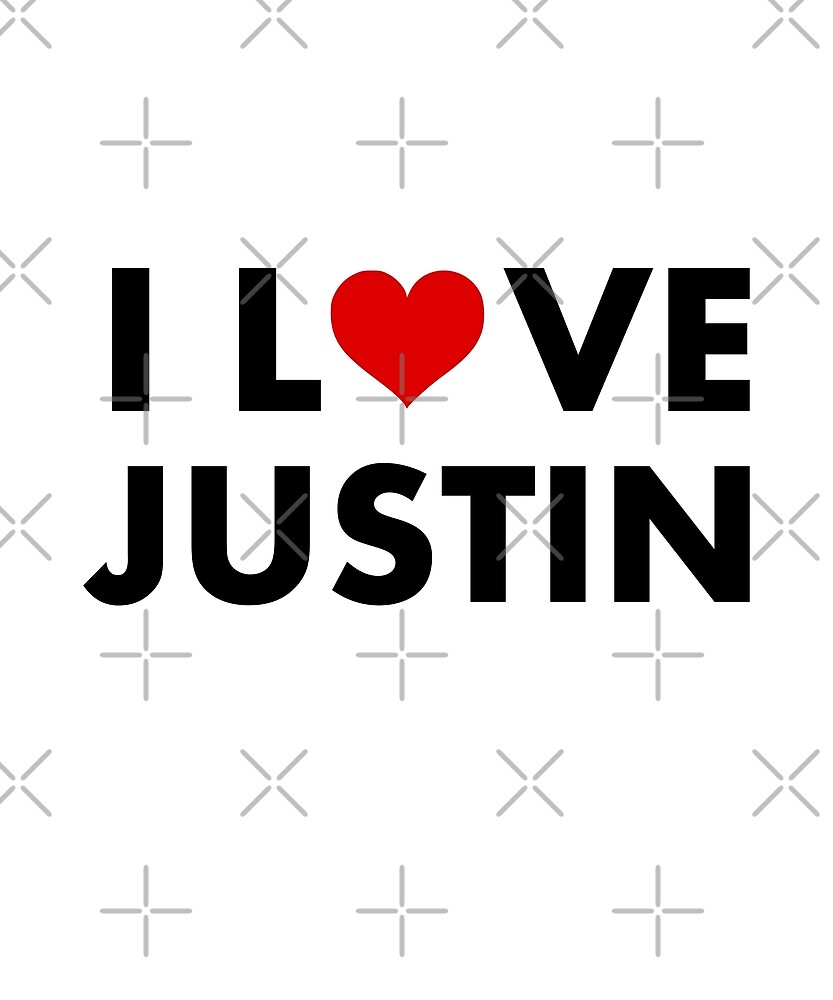 I Heart Justin I Love Justin Modern Text Light Color by TinyStarCanada