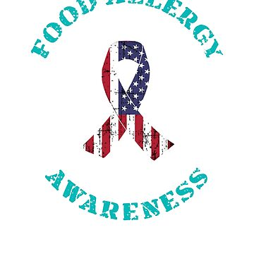 Food Allergy Allergies Awareness Teal Flag T Shirt by techman516