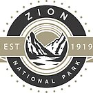 Zion Nationalpark - Autoreise Logo Design von nationalparks