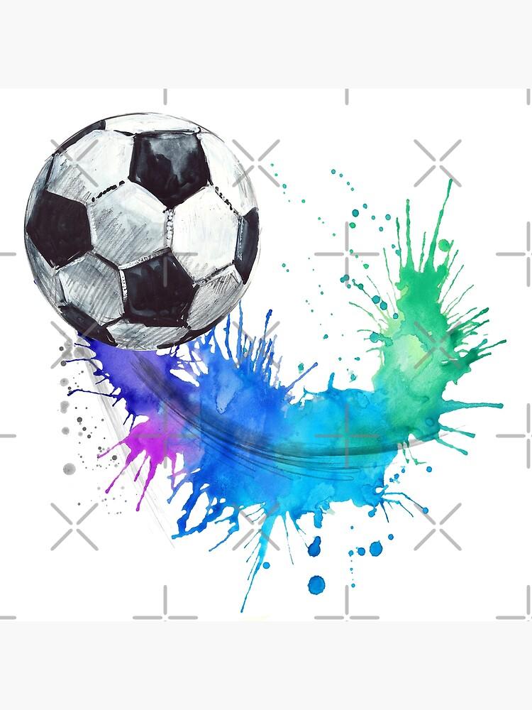 Fussball Gezeichnete Illustration Des Fussballaquarells Hand Metallbild