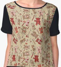 teddy bears & viking weapons pattern  Chiffon Top