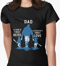 dad is a sons first hero and a daughters first love baseball t-shirts Women's Fitted T-Shirt