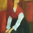 Jeanne Hebuterne/ after Modigilani by bev langby