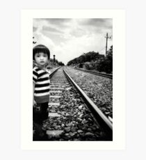 crossing the railroad Art Print