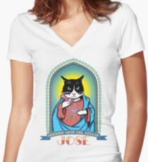 The Dollop: José Prayer Candle Women's Fitted V-Neck T-Shirt
