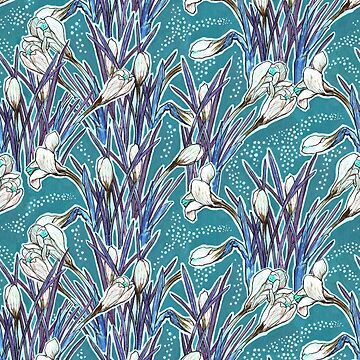 Crocuses, turquoise, blue and white  by clipsocallipso