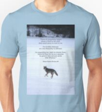 Grey Wolf Running on Frozen Lake & Quote Unisex T-Shirt