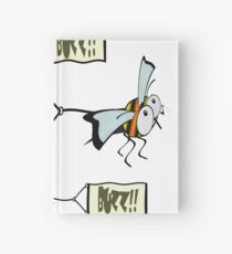 Swarm of bees pulling a banner with the word buzz. Hardcover Journal