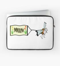 Bee pulling a banner with the word pollen. Laptop Sleeve