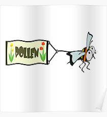 Bee pulling a banner with the word pollen. Poster