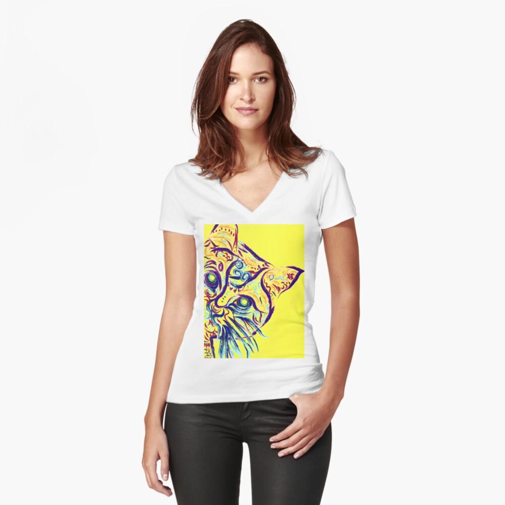 Tatuaje de gato amarillo Camiseta entallada de cuello en V