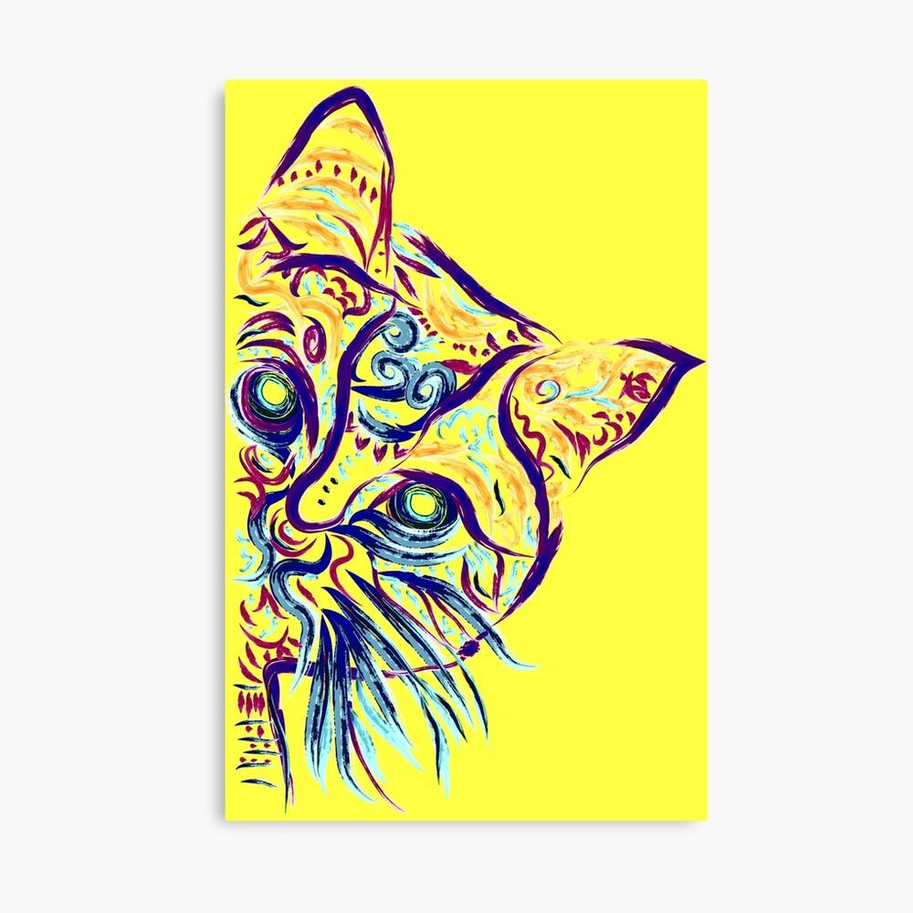 Tatuaje de gato amarillo Lienzo