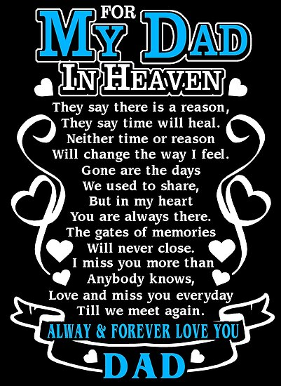 For My Dad In Heaven T Shirt In Loving Memory Of Dad In Heaven