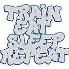 Train Eat Sleep Repeat - grey/blue by paintcave