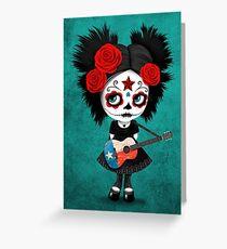 Sugar Skull Girl Playing Texas Flag Guitar Greeting Card
