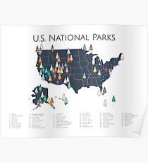 Nationalpark-Explorer-Karte Poster