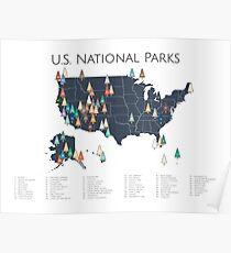 National Parks Explorer Map Poster