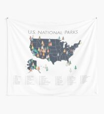 National Parks Explorer Map Wall Tapestry