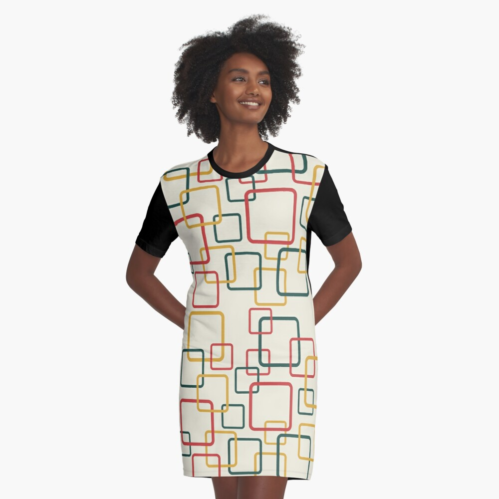 Mid Century Boxes Graphic T-Shirt Dress Front