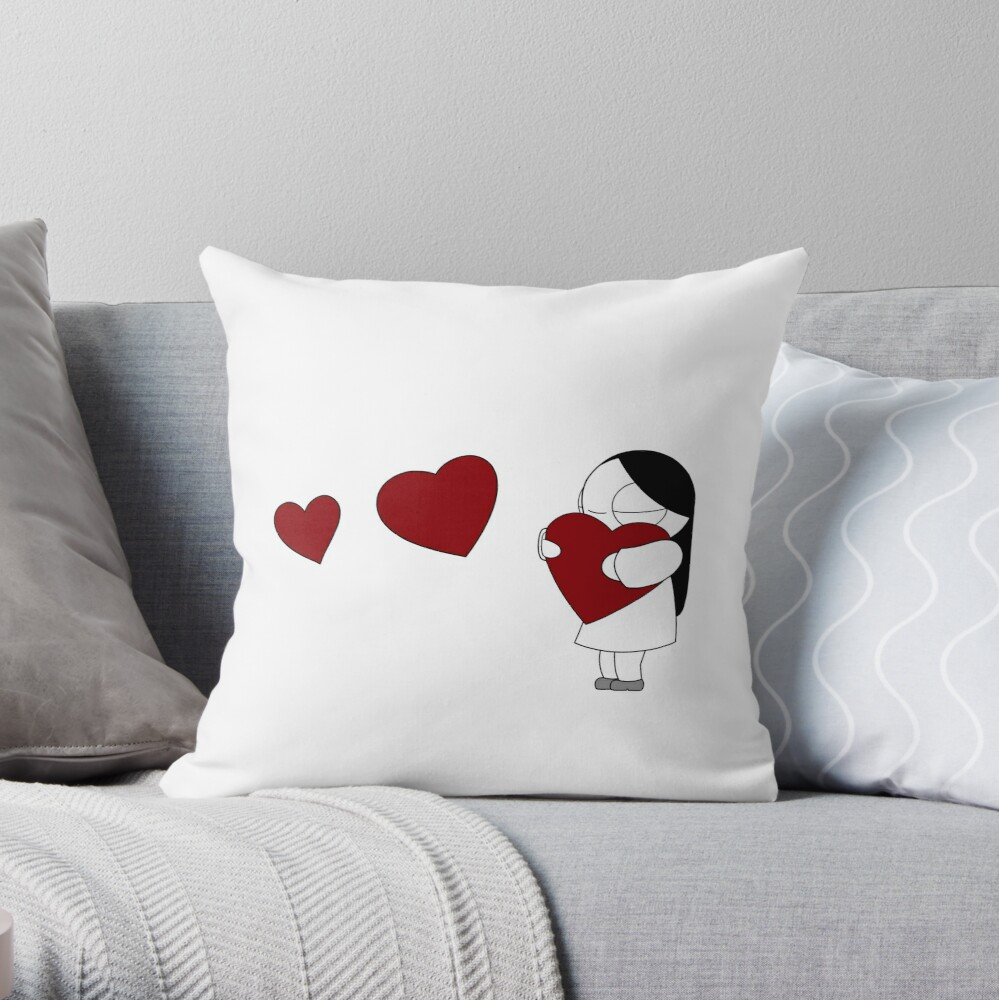 Catana Hearts Throw Pillow