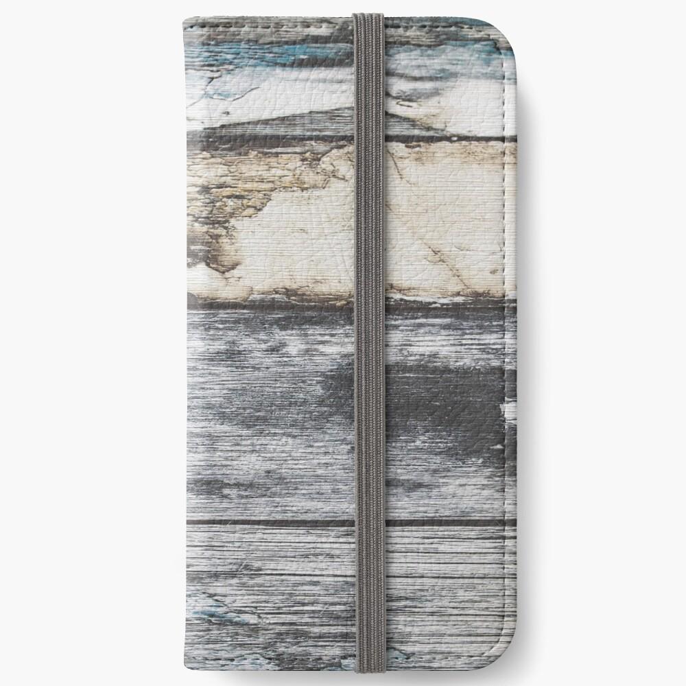 rustikales westliches Landbauernhaus graues Scheunenholz iPhone Flip-Case