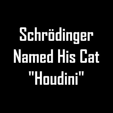 "Schrodinger Named His Cat ""Houdini"" by geeknirvana"