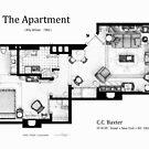 Floorplan of C.C. Baxter's apartment by Iñaki Aliste Lizarralde
