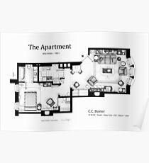 Floorplan of C.C. Baxter's apartment Poster
