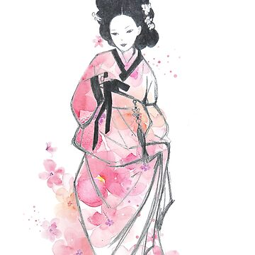 Cherry Blossom Korean Woman In Hanbok by Goudvissie