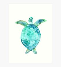 Blue Turtle, turtle art, ocean turtle swiming Art Print