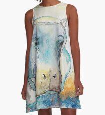 Water Color Hippopotamus A-Line Dress